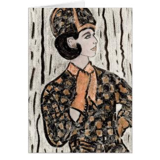 Menina da parte alta da cidade retro II Cartão