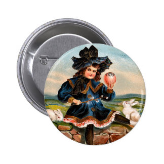 Menina da páscoa do vintage e botão redondo dos botons