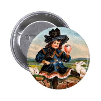 Menina da páscoa do vintage e botão redondo dos bóton redondo 5.08cm