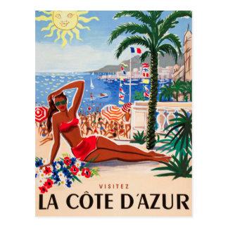 Menina da praia de Cote d'Azur do vintage Cartão Postal