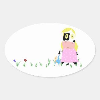 Menina da vaca adesivo oval