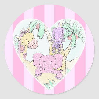 Menina das bênçãos do coração do bebê da selva adesivos em formato redondos