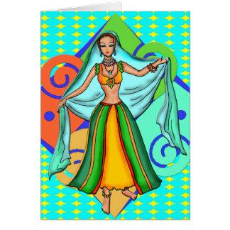 Menina de dança bonita da barriga cartão de nota