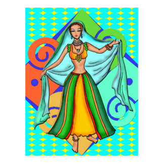 Menina de dança bonita da barriga cartão postal