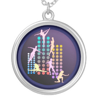 Menina de dança colar banhado a prata