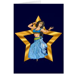 Menina de dança da barriga da estrela cartão comemorativo