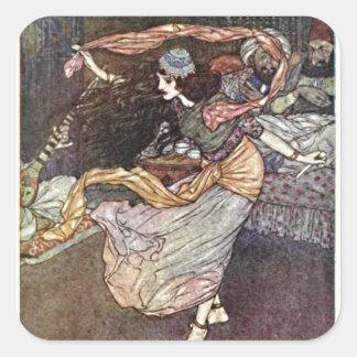 Menina de dança da barriga das noites árabes com adesivo quadrado