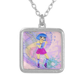 Menina de dança do anime do manga do modelo de colar com pendente quadrado