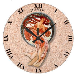 Menina de dança floral retro de Nouveau da arte do Relógio Grande