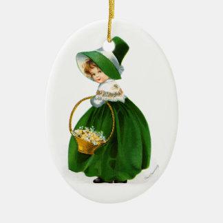 Menina de dia de St Patrick de Ellen Clapsaddle Ornamento De Cerâmica Oval