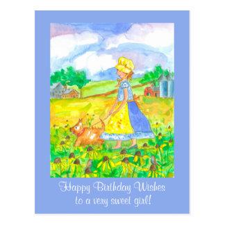 Menina de fazenda da pradaria que anda um feliz cartão postal