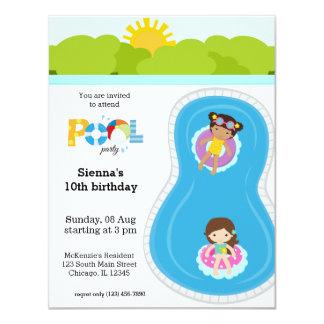 Menina de festa na piscina convite 10.79 x 13.97cm
