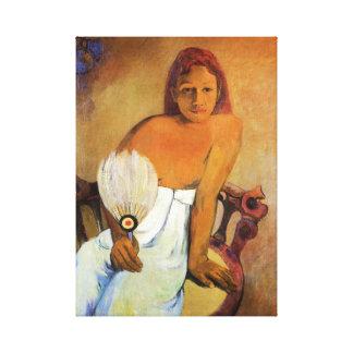 Menina de Gauguin com um envoltório das canvas do