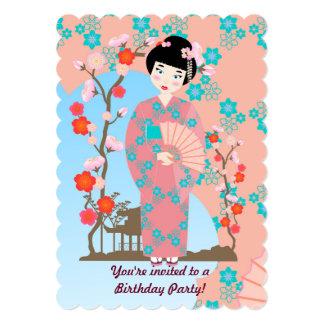 Menina de gueixa e convite de aniversário das