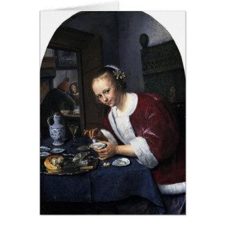 Menina de janeiro Steen que come ostras Cartões