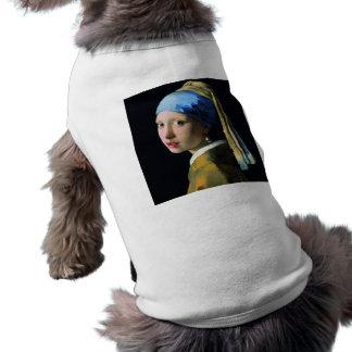 Menina de janeiro Vermeer com uma arte barroco do Camisa Sem Mangas Para Cachorro