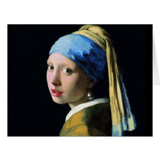Menina de janeiro Vermeer com uma arte barroco do Cartão Comemorativo Grande