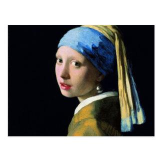 Menina de janeiro Vermeer com uma arte barroco do  Cartoes Postais
