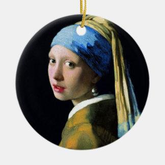 Menina de janeiro Vermeer com uma arte barroco do Ornamento De Cerâmica Redondo