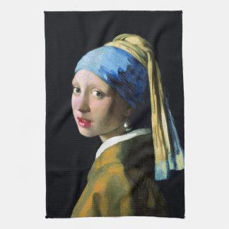 Menina de janeiro Vermeer com uma arte barroco do  Toalha De Mão