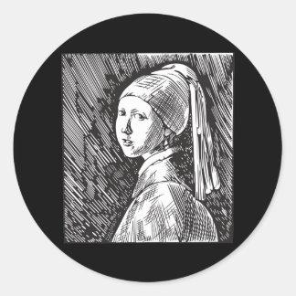 Menina de Johannes Vermeer com um brinco da pérola Adesivo