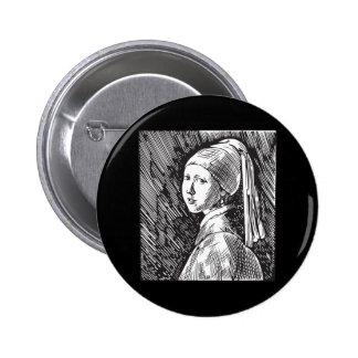 Menina de Johannes Vermeer com um brinco da pérola Botons