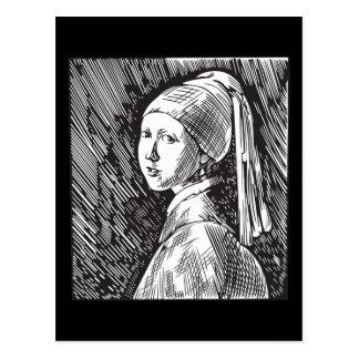 Menina de Johannes Vermeer com um brinco da pérola Cartão Postal