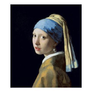 Menina de Johannes Vermeer com um brinco da pérola Poster
