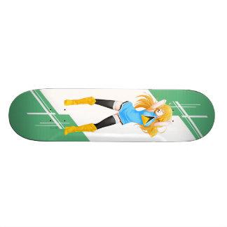 Menina de Lucia de santo Manga vestida na bandeira Skate Boards