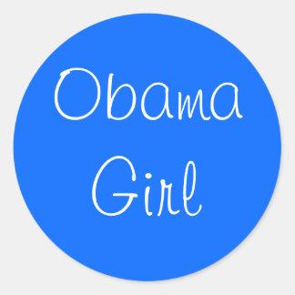Menina de Obama Adesivos Em Formato Redondos