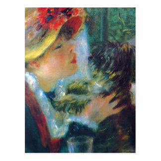 Menina de Renoir com cartão do cão
