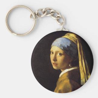 Menina de Vermeer com umas belas artes do brinco Chaveiro