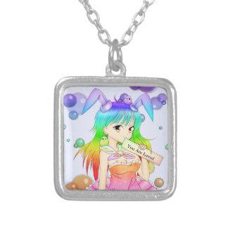 Menina do Anime do coelho do arco-íris Colar Com Pendente Quadrado