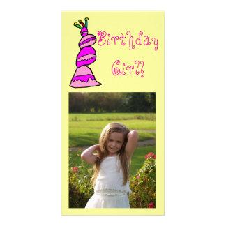 Menina do aniversário cartão com foto