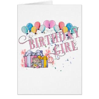 Menina do aniversário cartão comemorativo