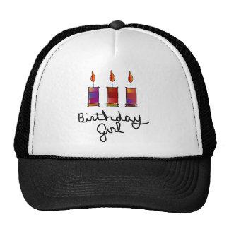 Menina do aniversário com 3 velas da Multi-Cor Boné