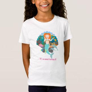 Menina do aniversário da sereia camiseta