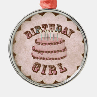Menina do aniversário ornamento redondo cor prata
