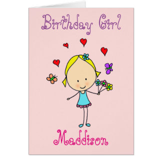 Menina do aniversário personalizada cartão comemorativo