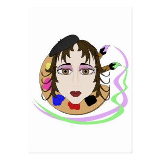 Menina do artista com olhos de Brown Cartao De Visita