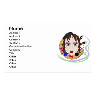 Menina do artista com olhos verdes cartao de visita