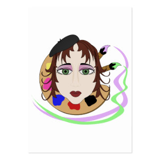 Menina do artista com olhos verdes cartoes de visita