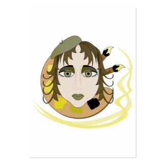 Menina do artista no amarelo modelos cartão de visita