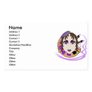 Menina do artista no roxo cartões de visitas