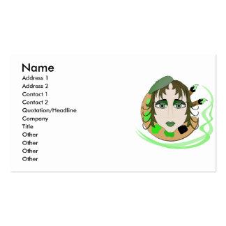 Menina do artista no verde modelos cartões de visita