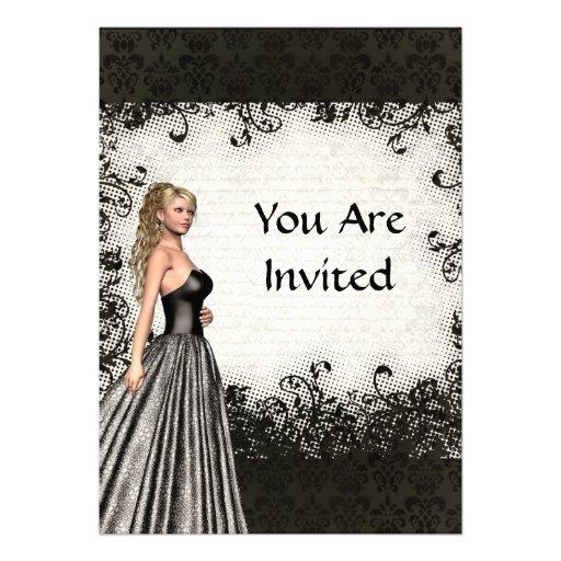 Menina do baile de formatura em um vestido preto convites