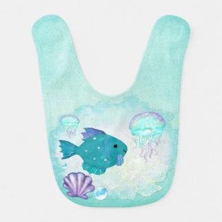 MENINA do BEBÉ da arte popular do aquário 2 da rar Babador Infantil