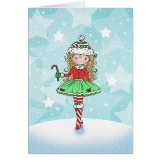 Menina do cartão de Natal com Candycane
