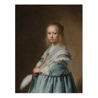 Menina do cartão no verspronck azul