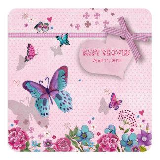 Menina do chá de fraldas | do amor | da borboleta convite quadrado 13.35 x 13.35cm